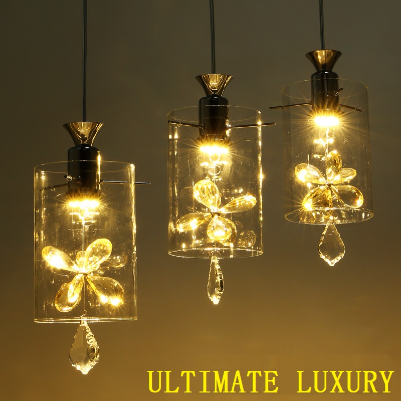European LED Restaurant Crystal Chandeliers Three Bar Glass Hanging Line Aisle Modern Minimalist Creative Lighting Ceiling Light modern crystal chandelier led hanging lighting european style glass chandeliers light for living dining room restaurant decor