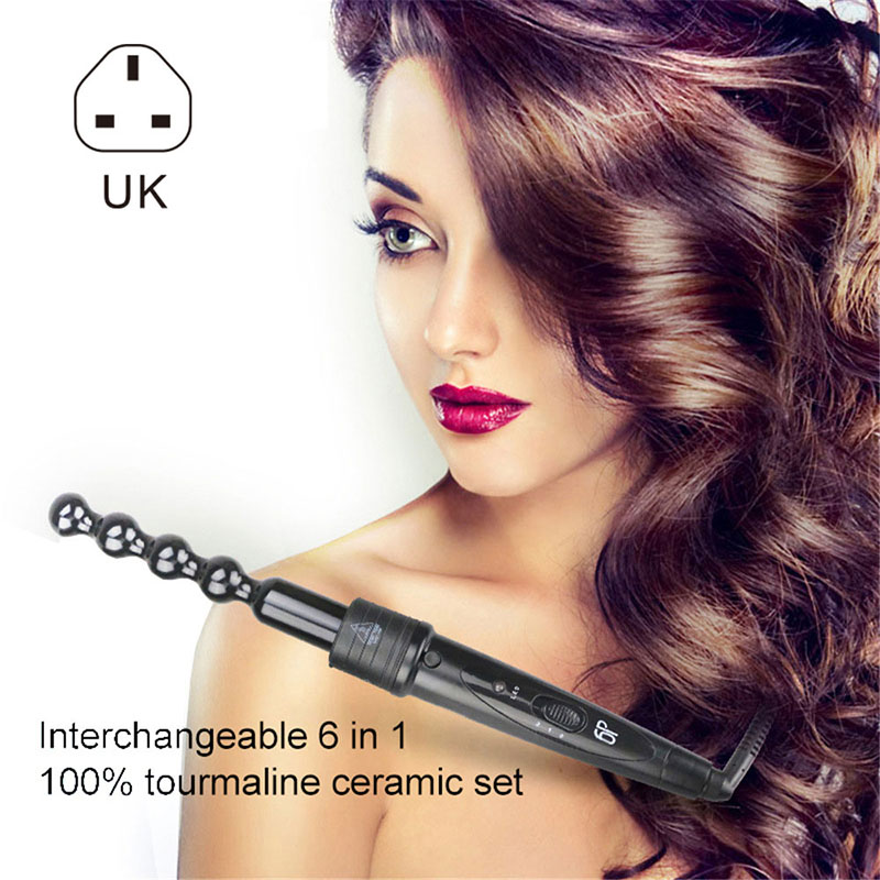 6 in 1 Multifunctional Hair Curler Set Interchangeable Ceramic Tourmaline Hair Curling Set HB88(China)