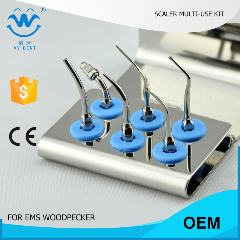 1 set EMUKS Dental scaler multi-functional tip kit FIT EMS Perio Basic System SCALER WOODPECKER UDS N2 SCALER 1set epkg dental perio scaler tips kit for periodontic disease treatment fit ems woodpecker w