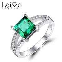Лаборатория leige ювелирные изделия искусственный изумруд кольцо зеленый с драгоценным камнем для помолвки кольца на годовщину для женщин кв