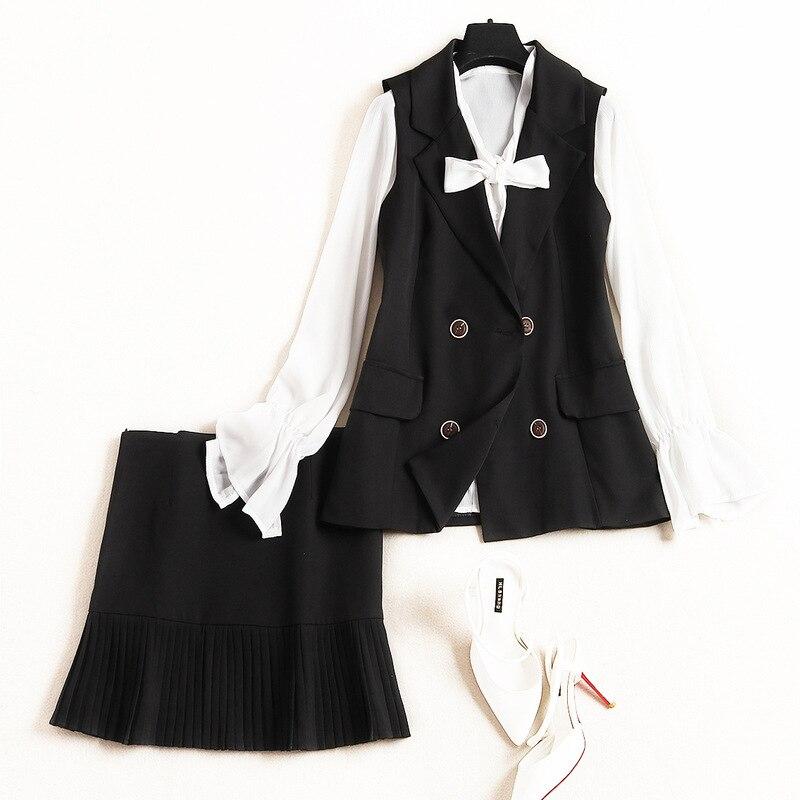 Nouveau Gilet Mousseline Élégant Costume Pièces Pleine Arc noir 3 En Chemise Ivoire Lady Printemps Office Femmes 2019 De Manches Minijupe Col Designer Tenues atqZwra