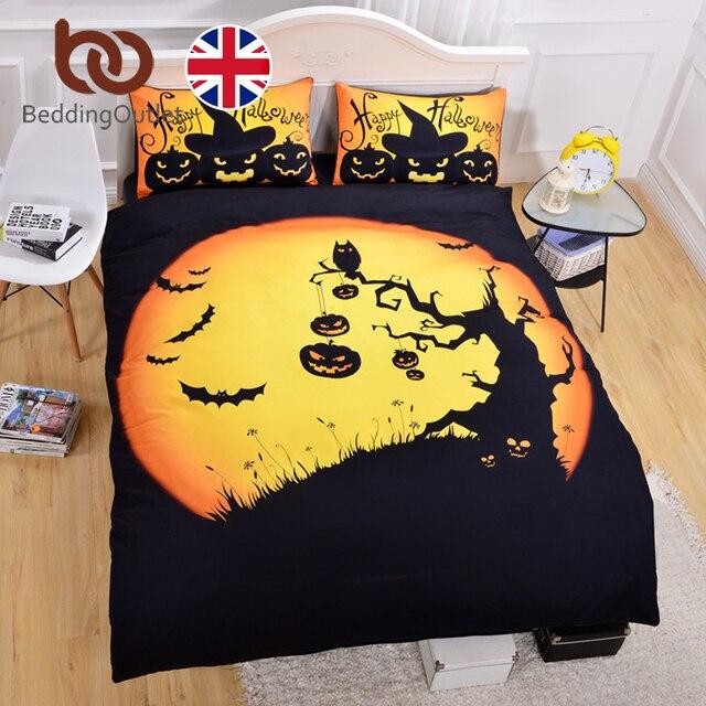 beddingoutlet halloween ensemble de literie noir et jaune housse de couette avec taies d oreiller