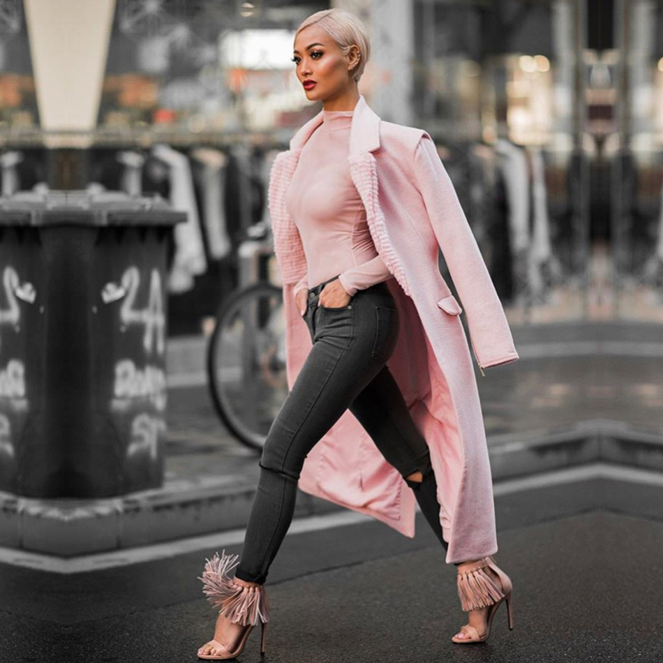 Adyce 2019 New Winter Women Slim   Trenches   Coats Sexy Pink Deep V-Neck Covered Button Warm Coats Zip Long Sleeve Maxi Club Coats