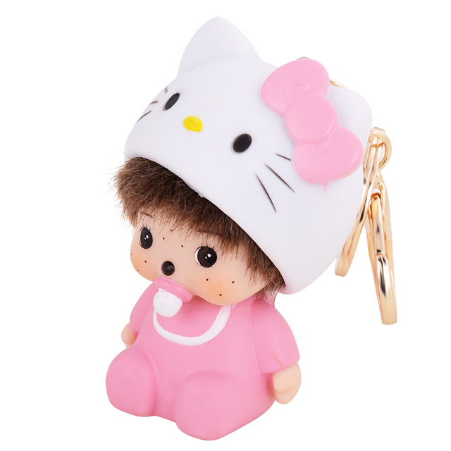 Cute & Adorable Pink Hello Cat Hat Monchichi Monkey Keyring chaveiro feminino Keychain porte clef fourrure Bag Charm