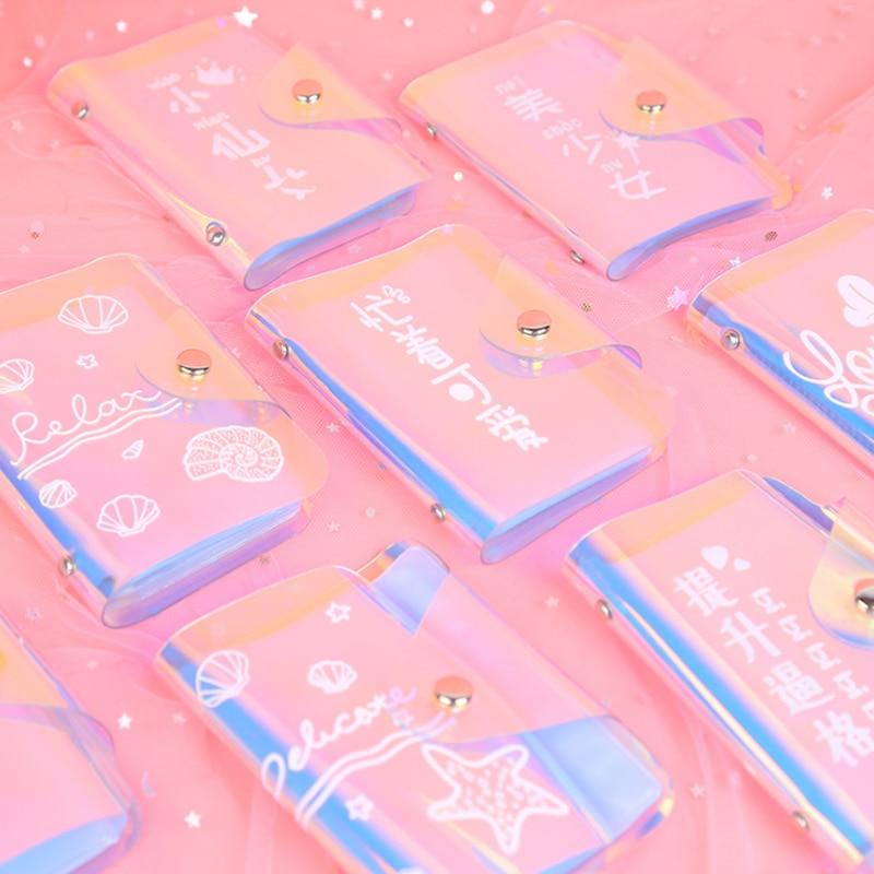 1 قطعة Kawaii المتناثرة نمط جواز غطاء الهولوغرام الليزر الائتمان حامل بطاقة بطاقات واضحة محفظة حالة سيدة شفافة محفظة حقيبة
