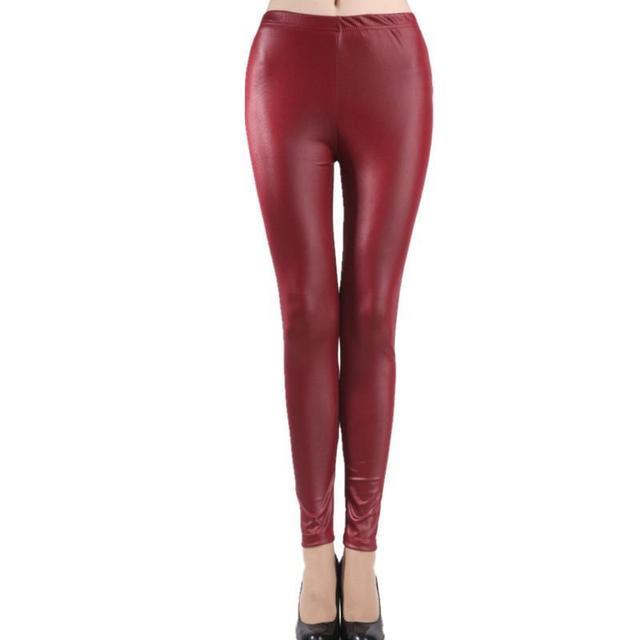 Women Imitation Leather Slim Leggings big yards Lederhosen S M L XL XXL XXXL nine points Middle waist Pant  With Velvet