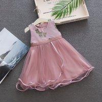 2018 summer new girl dress baby princess dress organza fashion embroidery flower vest dress