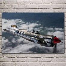 Плакат из ткани с самолетом ww2 mustang p51, домашняя настенная декоративная холщовая шелковая печать KH810 для гостиной