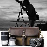 DSLR Камера сумка Мода Холст Кожа Сумка Камера чехол для Canon Nikon Sony Fujifilm Olympus Panasonic Зеркальные фотокамеры