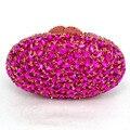 LaiSC ovalada Artesanal de noche de lujo bolsos de embrague rojo partido de las mujeres bolsos de noche bolsos de embrague de cristal de oro diamante SC154