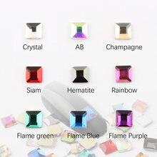 Горячая Распродажа квадратные Стразы 4х4 мм для дизайна ногтей