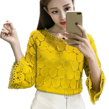 hot deal buy fashion  summer korean women hollow out lace blouses shirts new clothing flare sleeves o-neck slim female apricot white tops