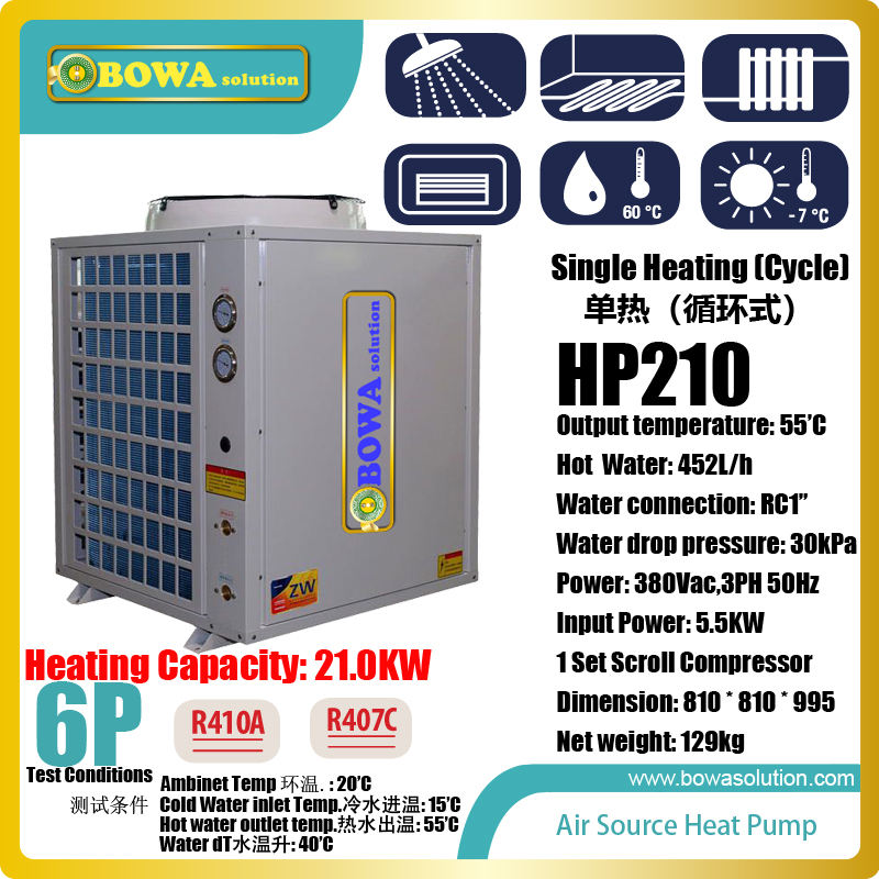 6P cycle heating air source heat pump water heater makes use of low grade heat to get high grade heat for getting hot water 11kw heating capacity r410a to water and 4 5mpa working pressure plate heat exchanger is used in r410a heat pump air conditioner