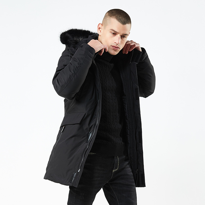Winter Coat Men Windbreaker Fur Hooded Thicken Jacket Men's Streetwear Hiphop Military Trench Coats Long Parka   Men Clothes
