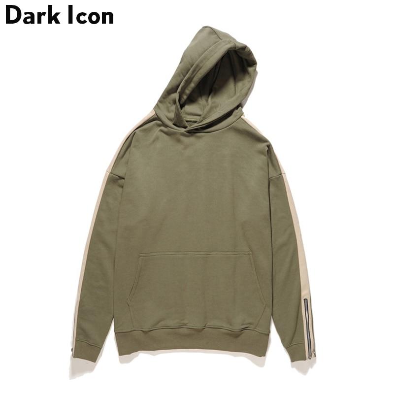 DARKICON Patchwork Zipper on Sleeve Terry Material Men's Hoodies 2017 Autumn Streetwear Blank Sweatshirts Men