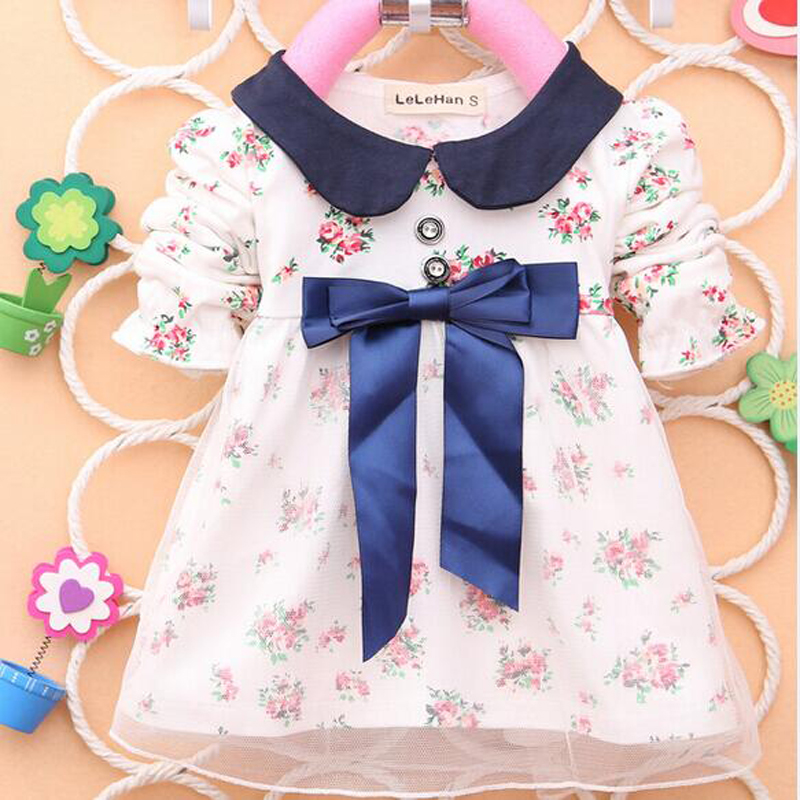 ZSXPMORE Spring Autumn Children <font><b>Shirt</b></font> Fashion Print Big Bow <font><b>Baby</b></font> <font><b>Shirt</b></font> Kids Girls <font><b>Baby</b></font> <font><b>long</b></font> <font><b>sleeve</b></font> Short Dress white pink blue image