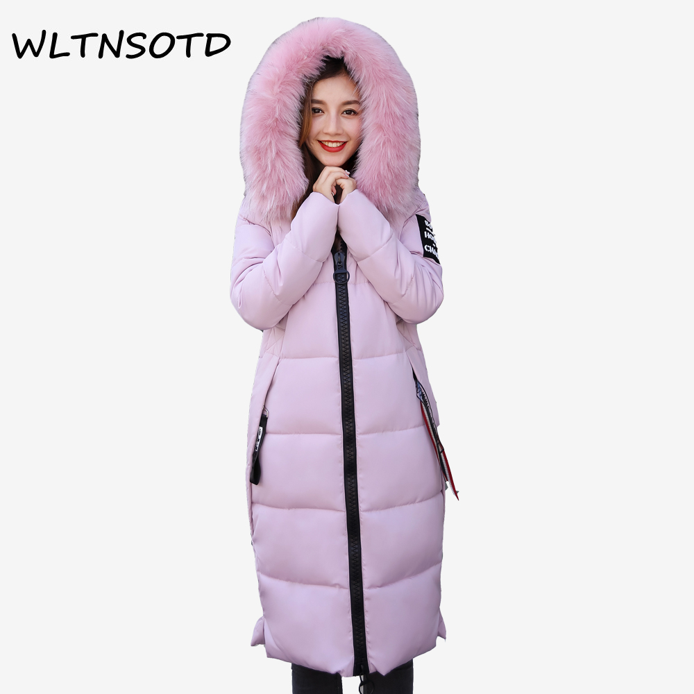 2017 new winter women big Fur collar hooded thick  coat long Slim badge pattern letter jacket Female fashion cotton warm Parkas 2017 winter new cotton coat women slim long hooded thick jacket female fashion warm big fur collar solid hem bifurcation parkas