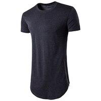 2017 Brand New Clothing Mens Black Long T Shirt Zipper Hip Hop Longline Extra Long Length