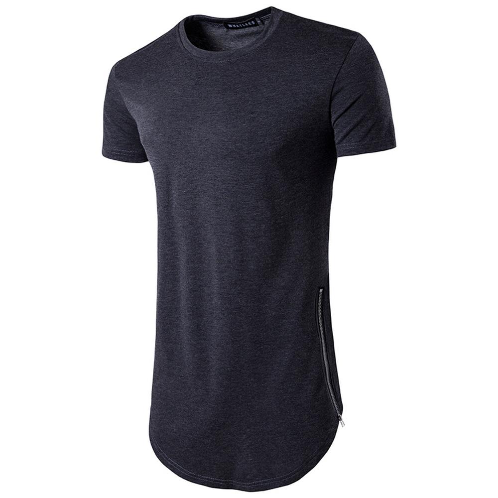 Black t shirt with zipper - 2017 Brand New Clothing Mens Black Long T Shirt Zipper Hip Hop Longline Extra Long Length