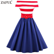 ZAFUL Red Striped Color Block Blue 60s Vintage Dress Plus Size S~4XL Cotton Belts Swing Rockabilly Dress Party Feminino Vestidos