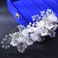Luxury Pearl Bridal hair accessories flower headpiece bridal wedding hair clip crystal hair combs handmade hair jewelry