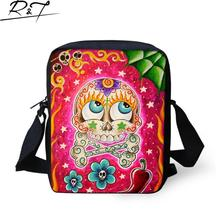 New 3D printing Funny skull series Messenger bags Kids School Children daily Cartoon Cute bag