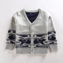 2016 autumn and winter new boy double thick sweater cardigan hit color age from 3-10T
