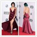 Celebridade vestido de decote em V alças Kylie Jenner vestido borgonha vestidos de celebridades 2015