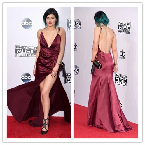 Celebrity Red Carpet Dress V Neck Spaghetti Straps Kylie Jenner Dress  Burgundy Evening Dress Celebrity Dresses 2015-in Celebrity-Inspired Dresses  from ... de0046c28739