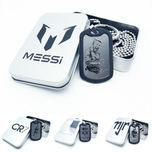 World Soccer Cup Articles Football Star Silvery Necklace Pendeloque Cut Key Buckle Futebol Fans Souvenir Messi Pendant Chaining(China)