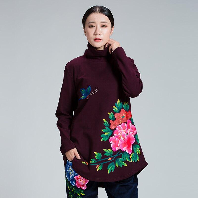 New2017 femmes hiver t-shirt lâche fit style chinois pivoine peint à la main col roulé polaire t-shirts 3 couleurs grande taille hauts XL-XXXXXL
