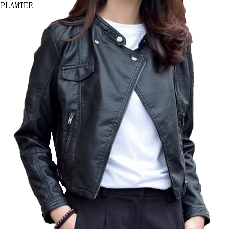 Harajuku Cropped Leather Jacket Coats Women Spring V Neck ...