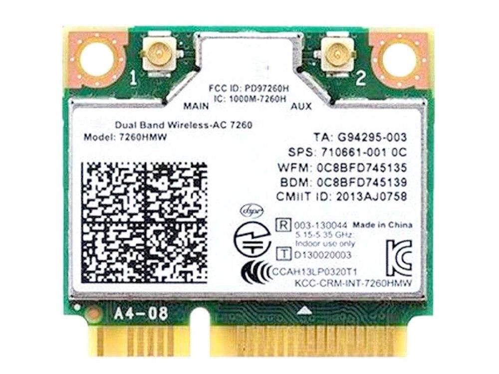 SSEA nouvelle carte pour Intel double bande sans fil-AC 7260 7260HMW carte Wlan 802.11 Ac 867 mbps WIFI Bluetooth 4.0 pour Hp 710661-001