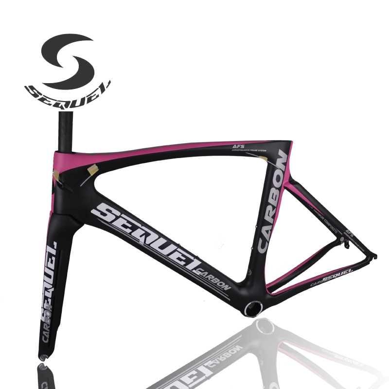 Pink Light Carbon Bike Frame T1000 Carbon Fiber Bicycle Frame +headset+clamp+adapter Carbon Road Bike Frame Aliexpress Shipping