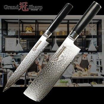 Kitchen Knife Set Nakiri Utility Knife vg10 Japanese Damascus Kitchen Knives Cleaver Vegetables Slicing Tools Best Family Gift