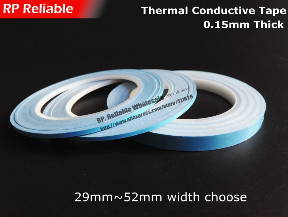 (29mm ~ 52mm de large choisir) * 25 M * 0.15mm ruban thermoconducteur adhésif Double face, pour les pièces électriques avec Joint de dissipateur de chaleur