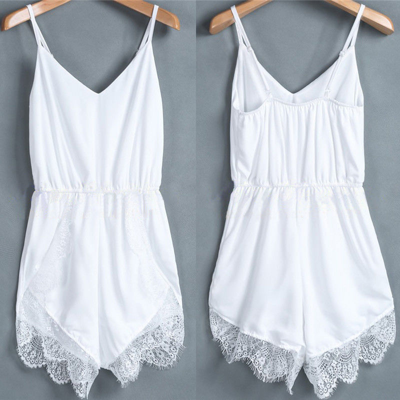 New Hot Sale Sexy Womens Summer Celeb Lace Chiffon Sleeveless Jumpsuit Women Rompers Party Playsuit