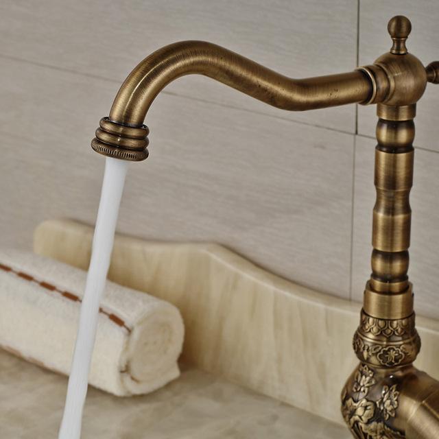 Antique Brass Basin Faucet Longnose Spout Flower Carved Wash Sink Tap 360 Rotation Single Handle Mixer Tap Torneiras