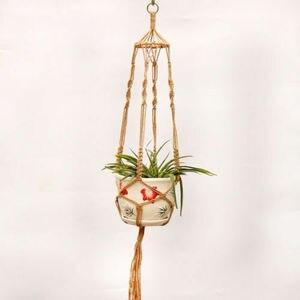 Image 5 - Garden Decoration Vintage Macrame Plant Hanger Flower Pot Garden Holder Legs Hanging Rope Basket Handcrafted Braided Hanger Pot