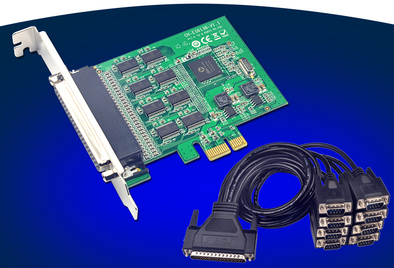 8Port RS232 Serial PCI-Express Expansion Card 15kV ESD Protection SD6138 Chipset boss green