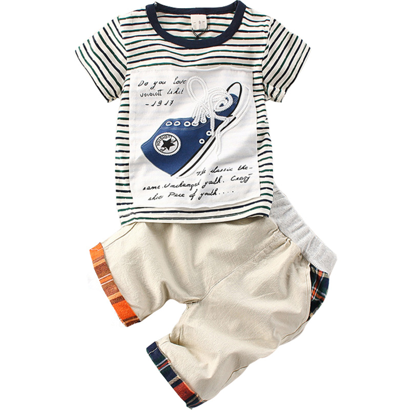 Boutique Kids Clothes Boys Toddler Boys Clothing Sets Baby Costume Suits Cotton Striped Short Sleeve T-shirt+Shorts 2 Pieces