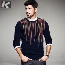 Зимние мужские Модные свитеры в полоску из 100% хлопка синий вязаный брендовая одежда человека Трикотаж пуловеры вязаные топы
