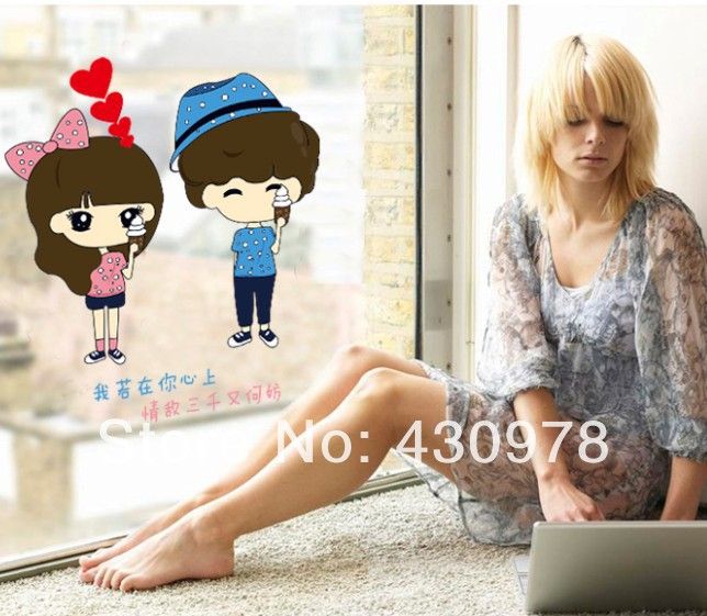 New Arrive QZ1195 Free Shipping Young Love Couple Icecream Heart Removable PVC Wall Stickers <font><b>Elegant</b></font> <font><b>Home</b></font> <font><b>Decoration</b></font> Gift
