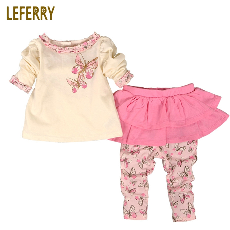 Baby Girl Clothes Divided Skirts + T Shirt Long Sleeve Baby Girls Clothing Set Printed Cotton Infant Girl Clothes 2018 New mother nest 3sets lot wholesale autumn toddle girl long sleeve baby clothing one piece boys baby pajamas infant clothes rompers