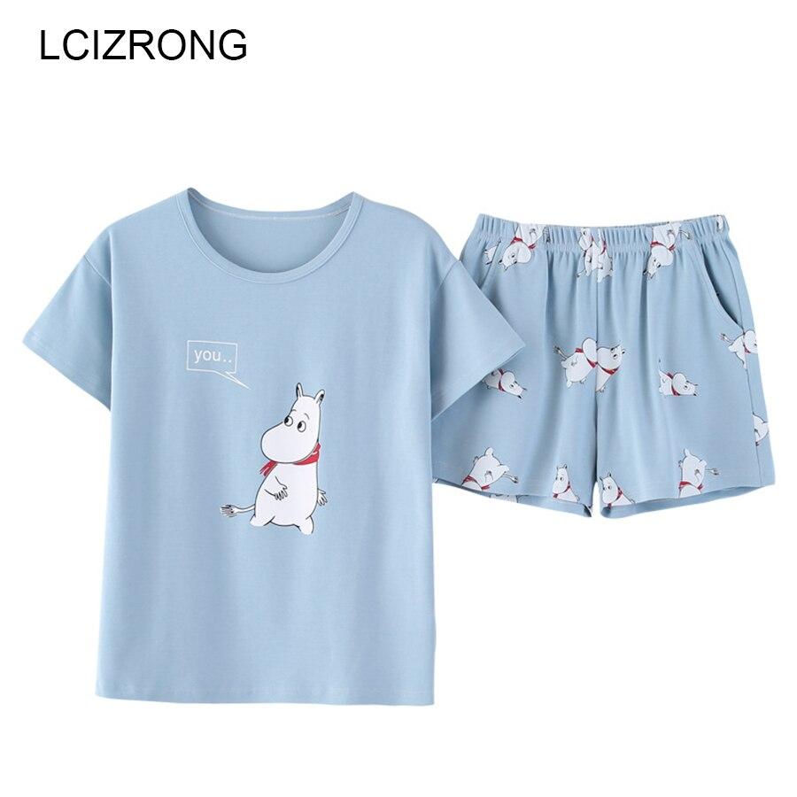 New Summer 3 Style Cartoon Pajamas Sets Women Home M-XXL Comfortable Nightshirt 2pcs/set Cotton Girl Cute Bedroom Nightgown