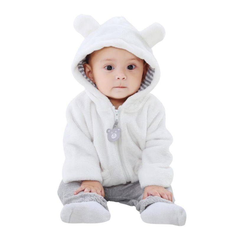 Infant Clothing Tops Fashion Baby 6-24m Newborn Baby Girls Boys Solid Long Sleeve Hooded Ears Cute Outerwear Jackets Coats