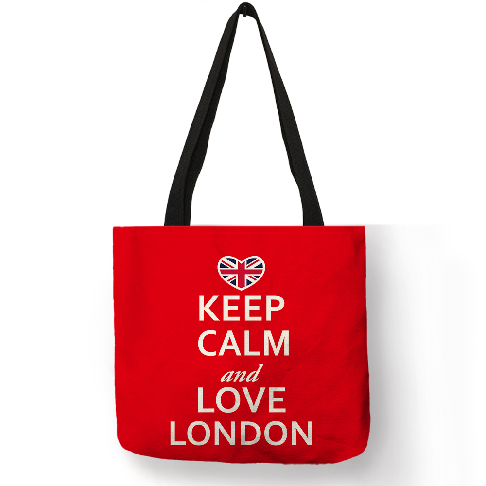 Bright Red Color Handmade Tote Bag Letter London Moscow Printed Handbag Good Quality Linen Folding Travel Picnic Outdoor Package tote bag