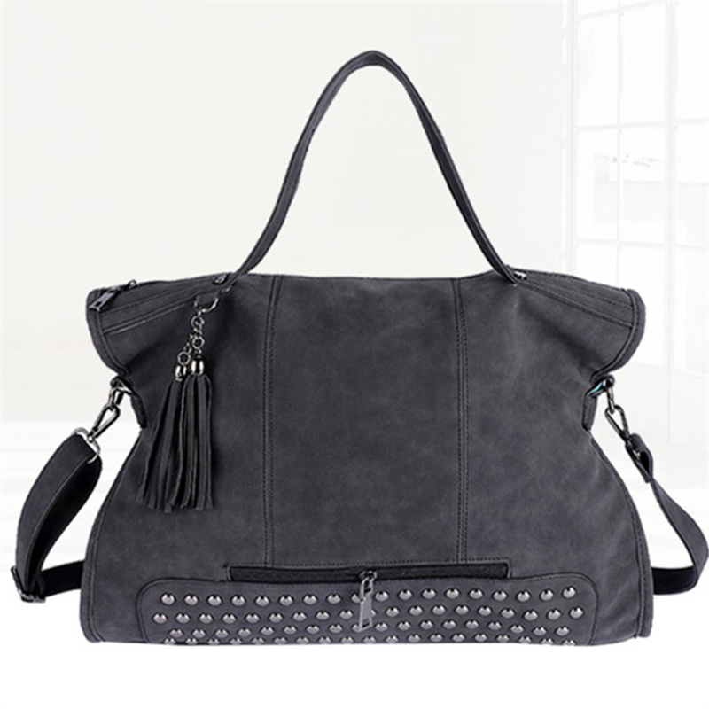 Vintage Rivet PU Leather Female Handbag Fashion Tassel Messenger Big Bag Women Shoulder Bag Larger Top-Handle Bags Travel Bag female brand design women bag fashion rivet messenger bags solid pu leather clutch bag vintage crossbody bag punk women handbag