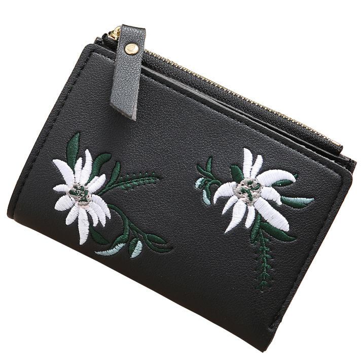 Women Wallets Lady Short Floral Purses Cards Holder Hasp Zipper Coin Purse Clutch Woman Flower Wallet Girls Money Bags Burse Bag
