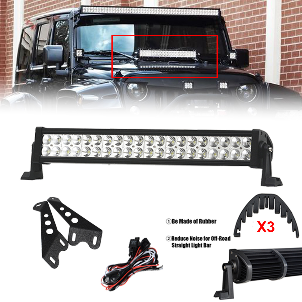 22\'\' inch 120W LED Light Bar with Engine Hood Mount Bracket Dual Row ...